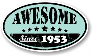 Distressed Aged Awesome Since 1953 Oval Design External Vinyl Car Sticker 70x120mm